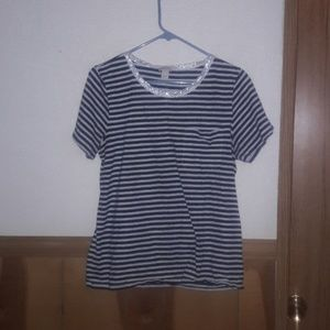 J. Crew T-shirt striped with a glitter collar